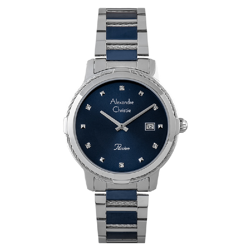 Alexandre Christie Passion AC 2846 LD BTUBU Ladies Blue Dial Dual Tone Stainless Steel