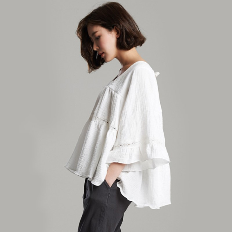 Back Ribbon Cotton Blouse