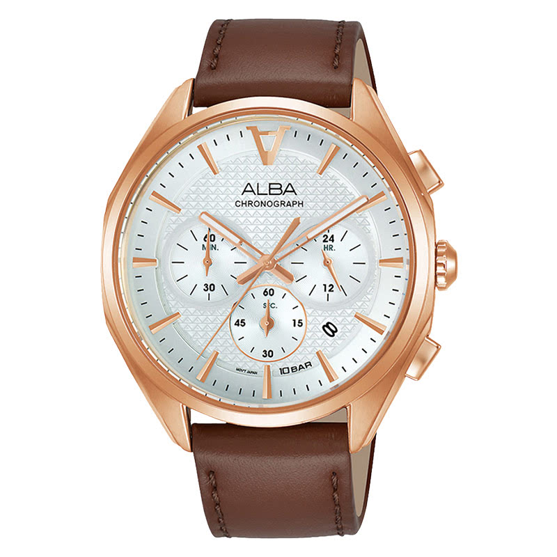 Alba Sign-A AT3G86X1 Chronograph Men Silver Dial Brown Leather Strap