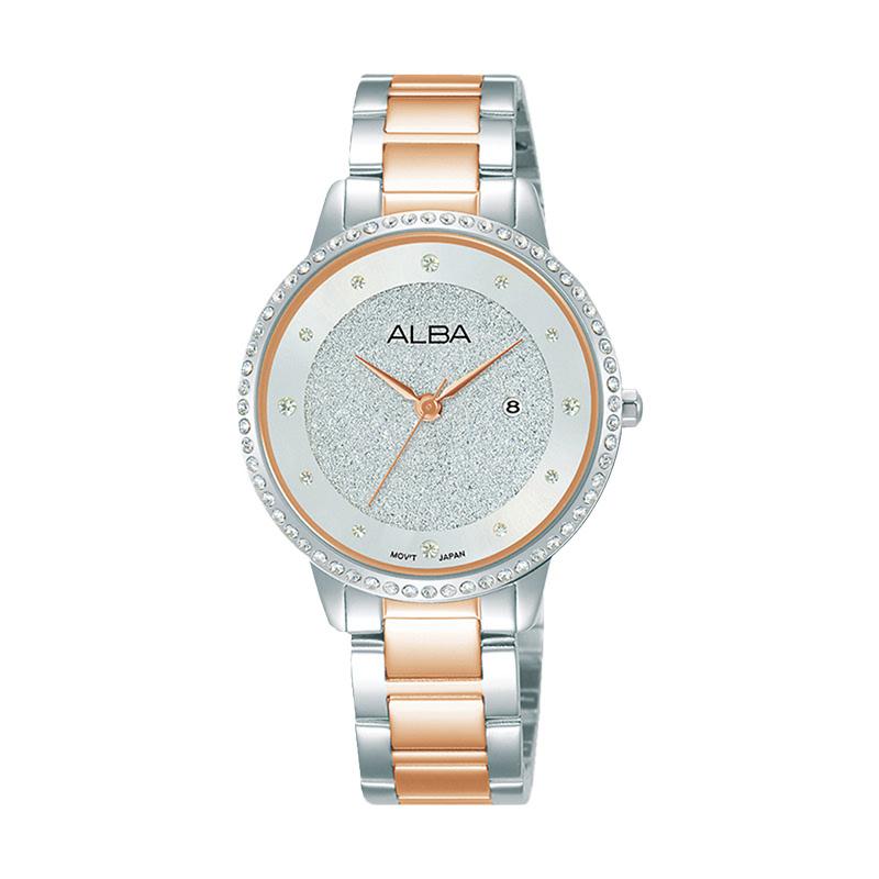 Alba AH7W23X1 Silver Pattern Dial Dual Tone Stainless Steel Strap