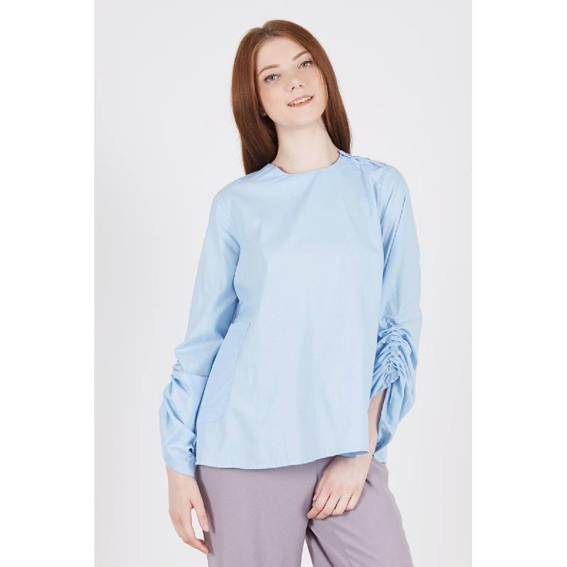Rimby Scrunch Sleeve Top Blue