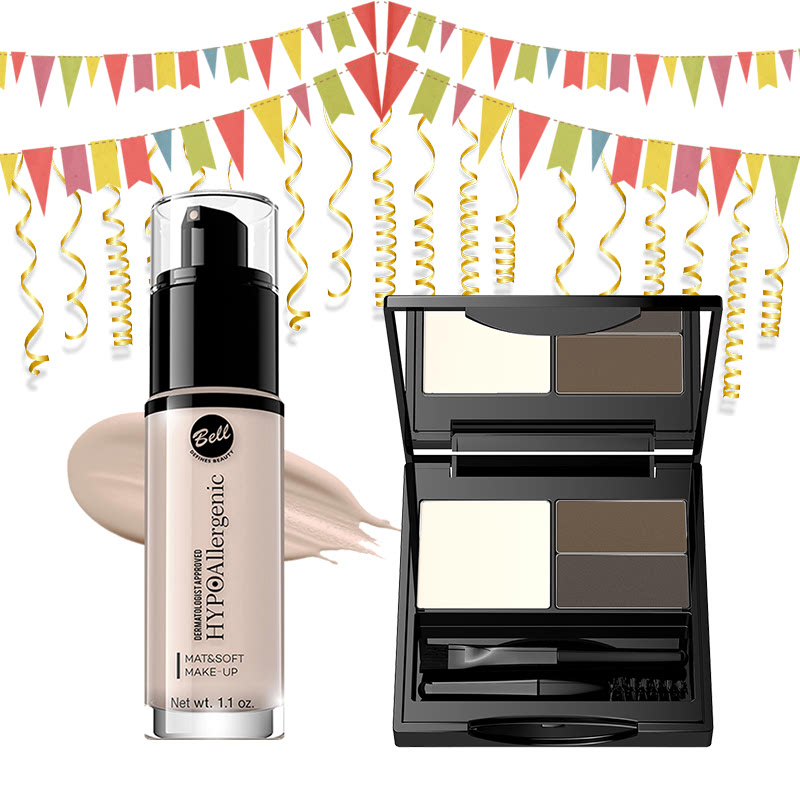 Bell Hypoallergenic Mat&Soft Make-Up 00 Alabaster & Bell Hypoallergenic Eye Brow Set 02