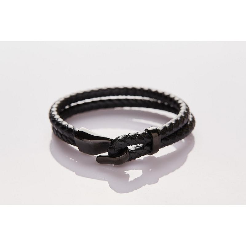 Jee&Ed Bi-Braided Leather Onyx Hook 22 cm