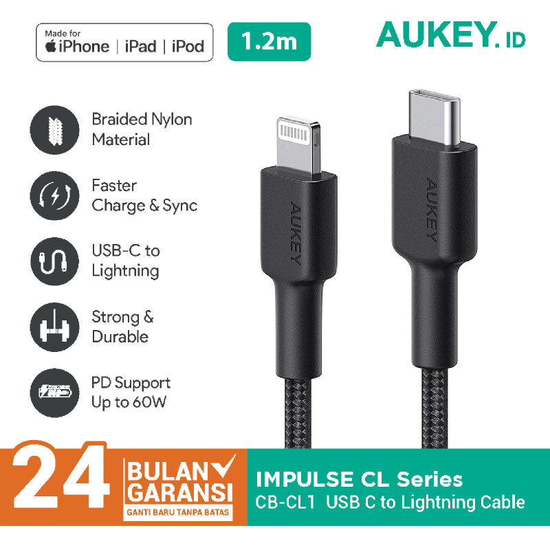 Aukey Braided Nylon MFi USB-C to Lightning Cable 1,2m - 500368