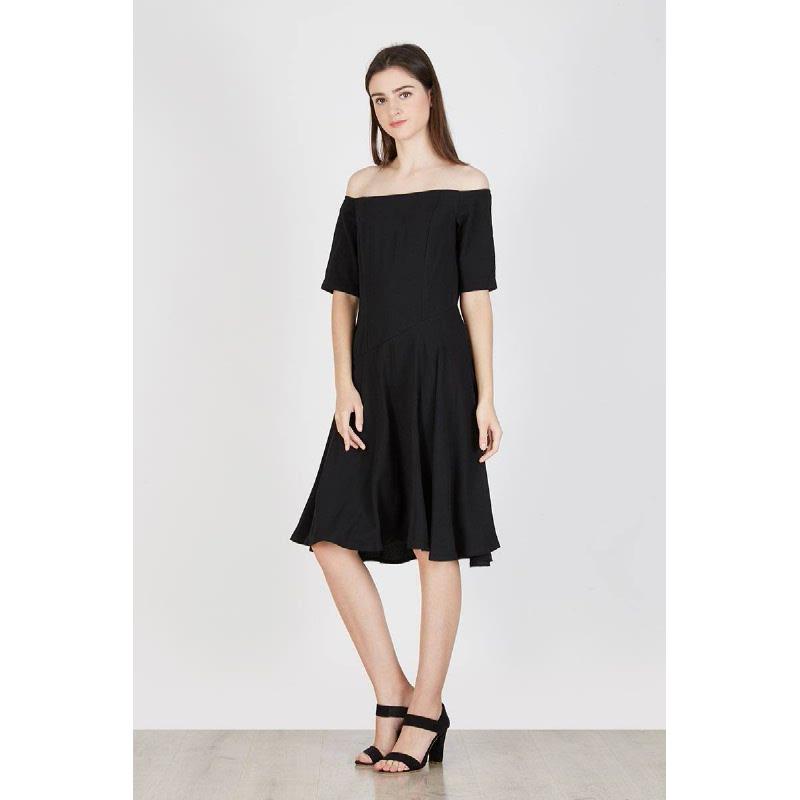 Orin Off Shoulder Dress Black