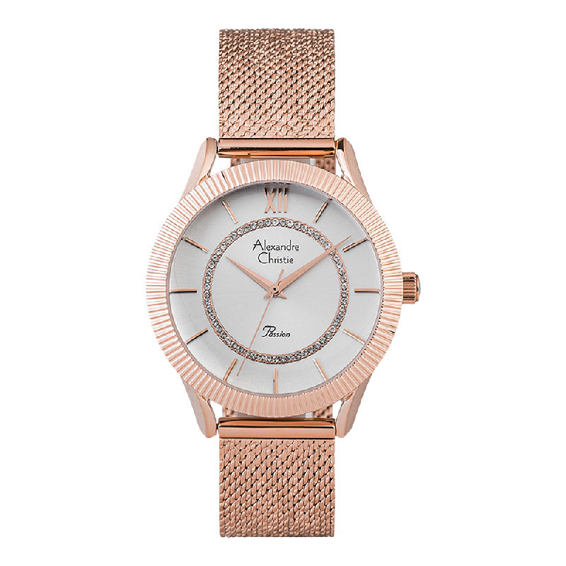 Alexandre Christie Passion AC 2887 LHBRGSL Ladies Silver Dial Rose Gold Mesh Stainless Steel Strap