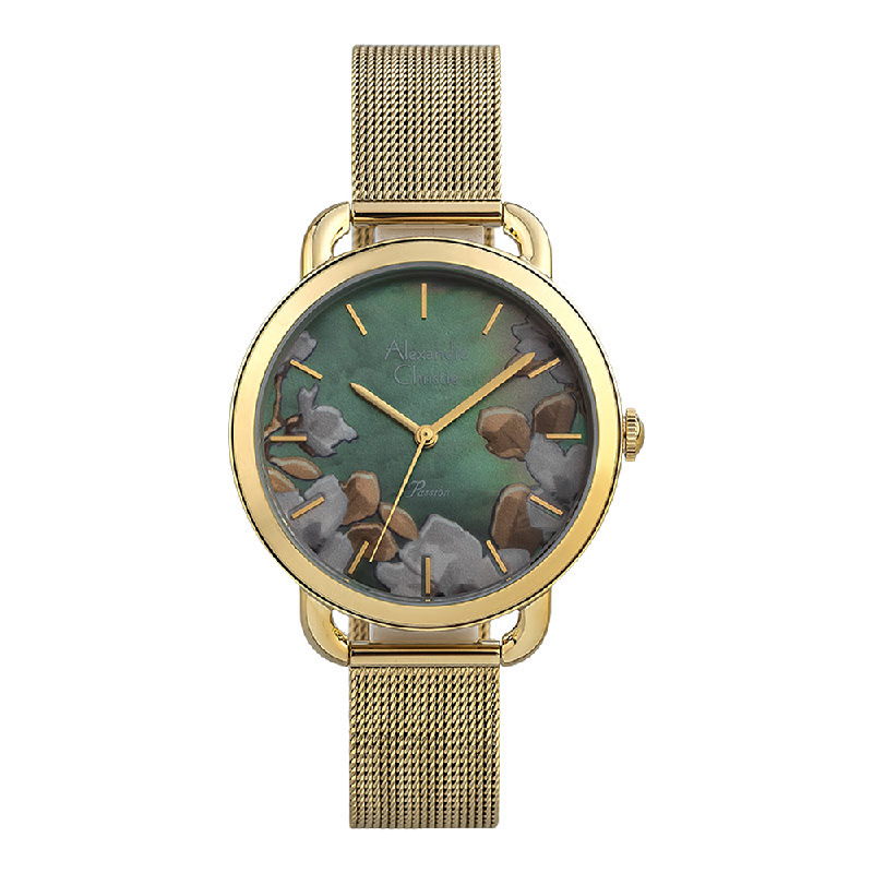 Alexandre Christie Passion AC 2852 LH BGPMI Ladies Mother Of Pearl Flower Motif Dial Gold Mesh Strap