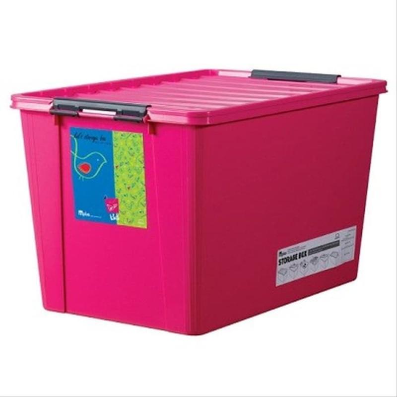 LOCK&LOCK Inplus Easy Clip Box Kotak Keranjang Penyimpanan Pink 60L INP113P