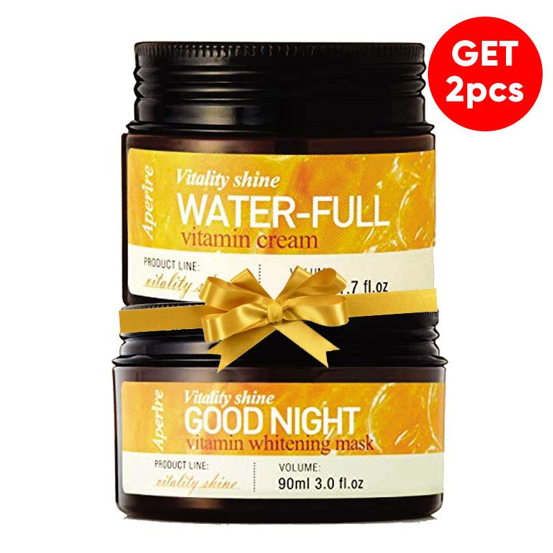 Aperire Vitality Shine Waterful Vitamin C Cream 50 G + Aperire Vitamin C Whitening Sleeping Pack 90 G