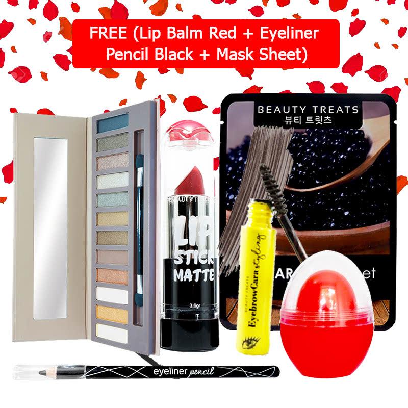 Beauty Treats Make Up Set B (Naked Eyeshadow No. 1 + Lipstick No. 6 + Eyebrowcara Dark Grey Brown) FREE Kiss Me Lip Balm Red + Eyeliner Pencil Black + Mask Sheet Caviar