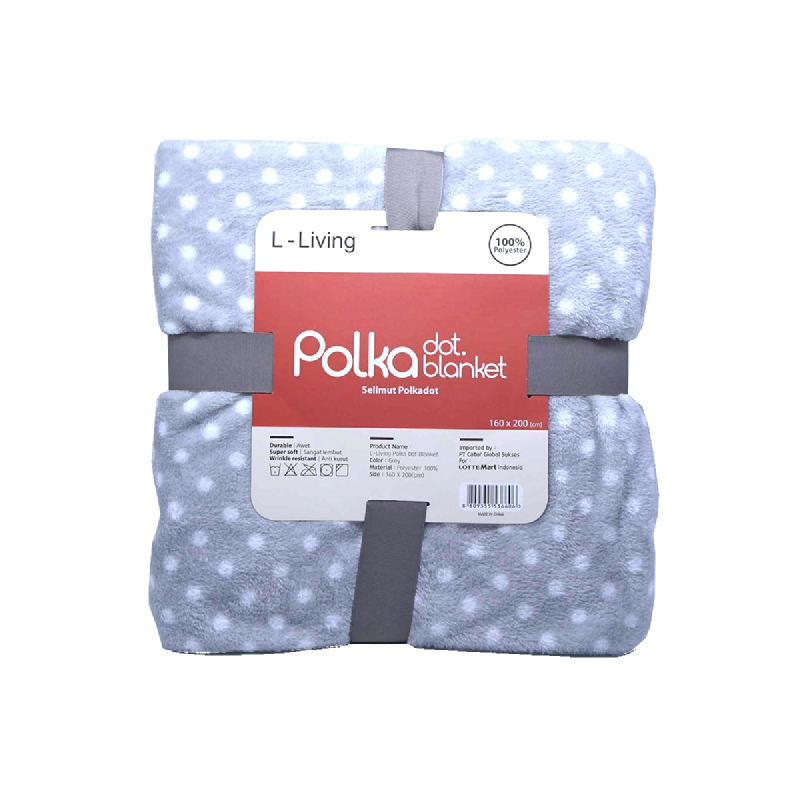 L LIVING POLKA DOT BLANKET GREY 160X200