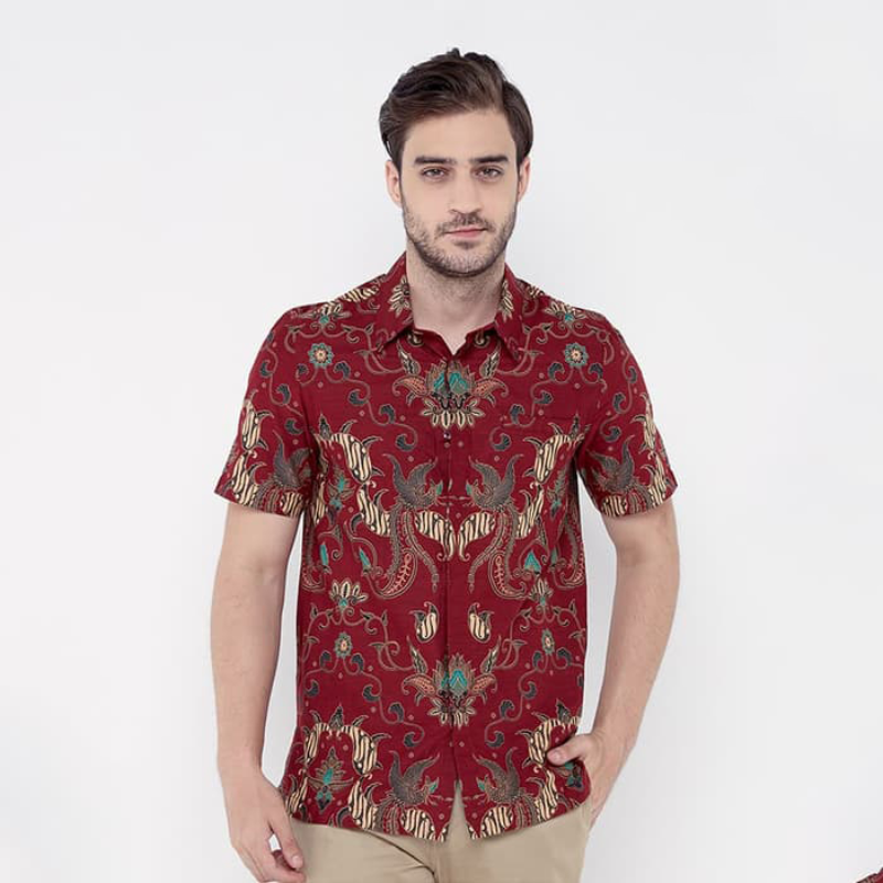 Asana Batik Slim Fit Short Sleeve SSSFDR78MAR Maroon