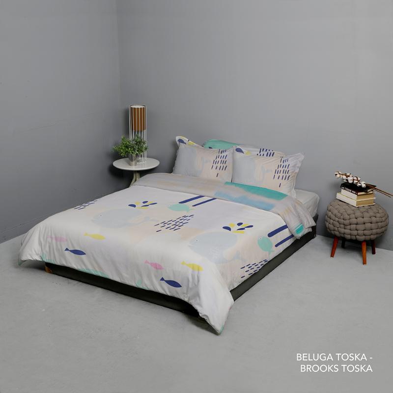 King Rabbit Bed Cover Single Motif Beluga - Toska