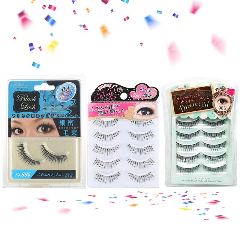 Lucky MBR 695 Black Eyelash + Lucky MBT 1004 False Eyelash + Lucky 5 PM 986 False Eyelashes (5 pairs)