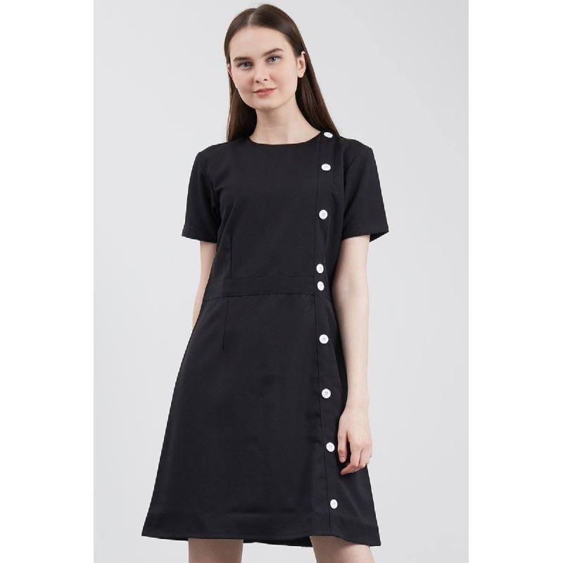 Samala Button Dress Black