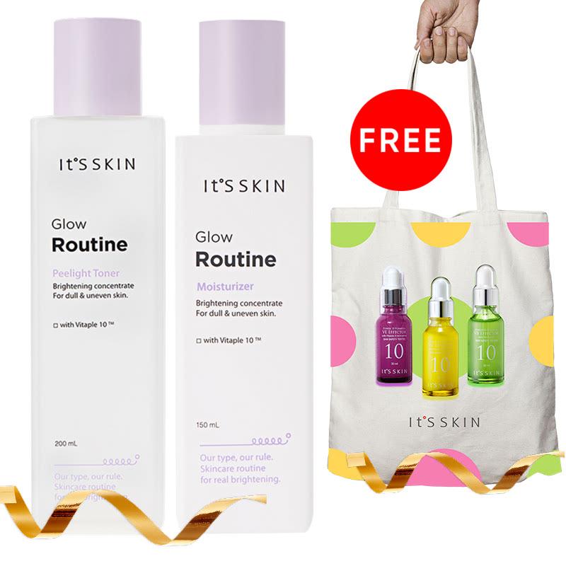 It's Skin Glow Routine Peelight Toner + It's Skin Glow Routine Moisturizer Free Tote Bag It's Skin