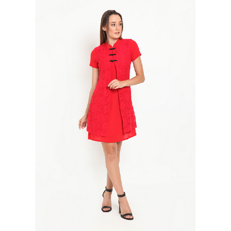 Agatha Lace Dress with Mandarin Button Red