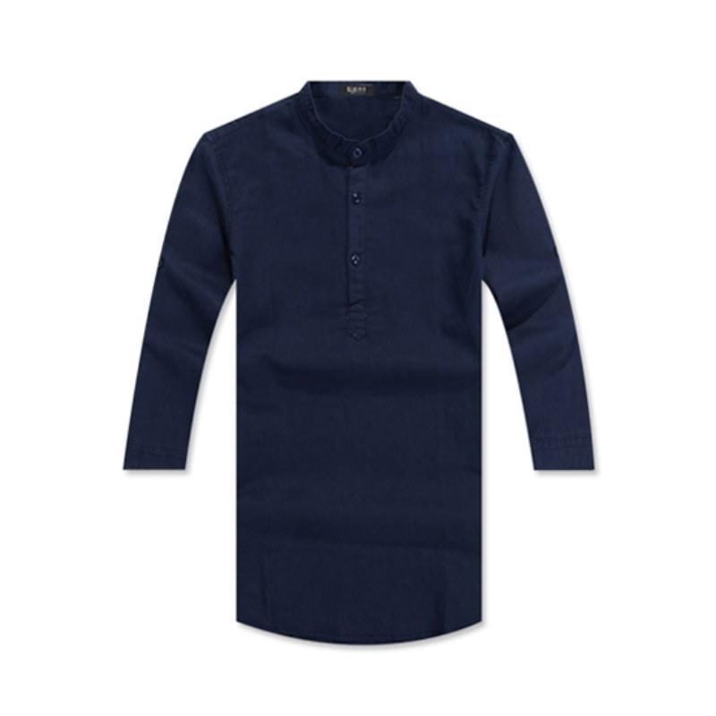 Henley Neck Three Quarter Roll-up Linen Shirt GS7203C - Navy