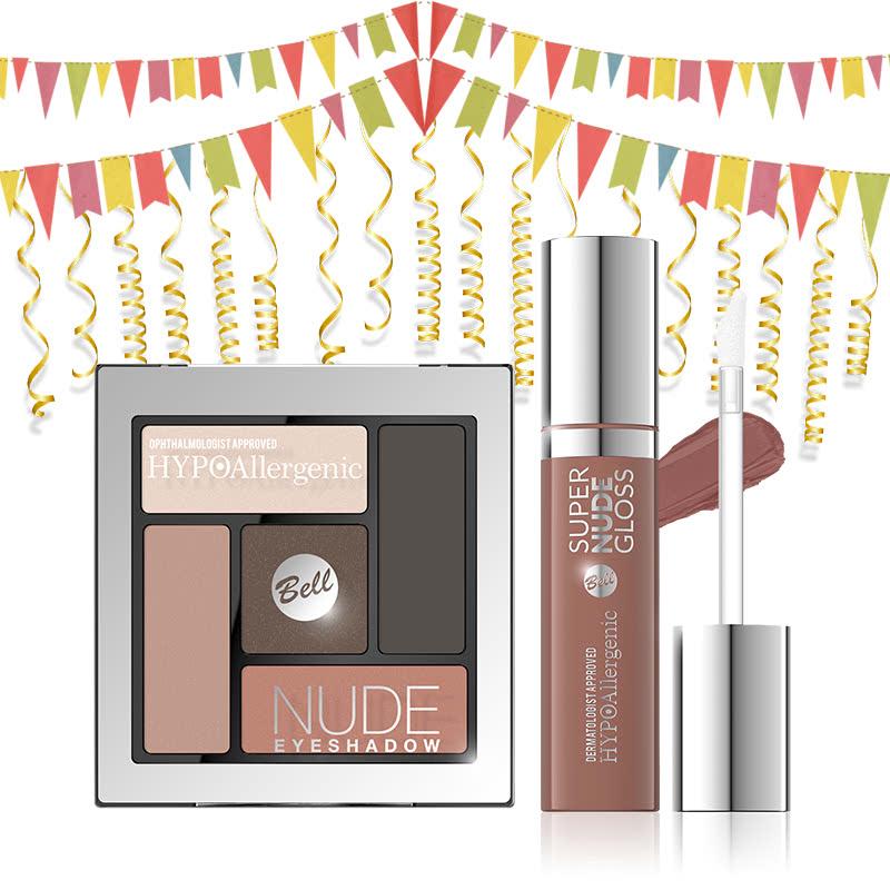 Bell Hypoallergenic Nude Eyeshadow 03 & Bell Hypoallergenic Super Nude Lip Gloss 04 Strips of Wood