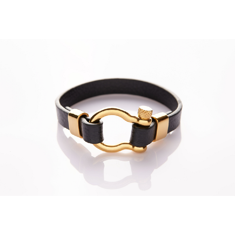 Jee&Ed Black Leather Gold Horse-Shoe Screw 22 cm