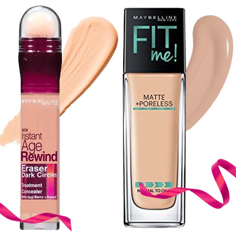 Maybelline Concealer Instant Age Rewind Erase - Honey + Maybelline Foundation Fit Me Matte+Poreless - 128 Warm Nude 30 ml