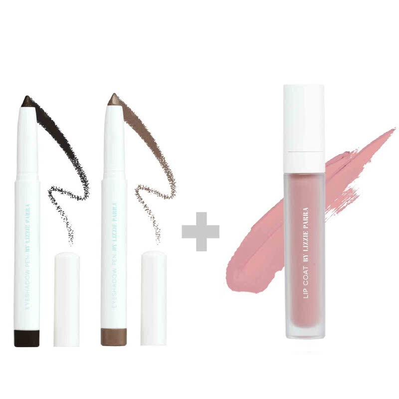 BLP Eyeshadow Charcoal Black+Crème Gold & Lipcoat Peppermint Pink