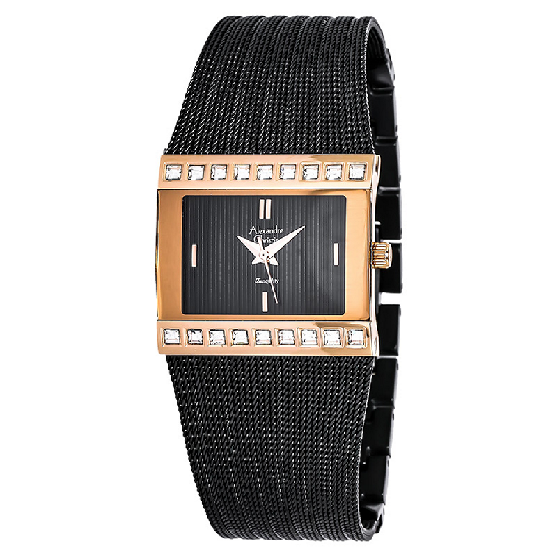 Alexandre Christie AC 2561 LH BBRBA Ladies Transquility Black Dial Stainless Steel