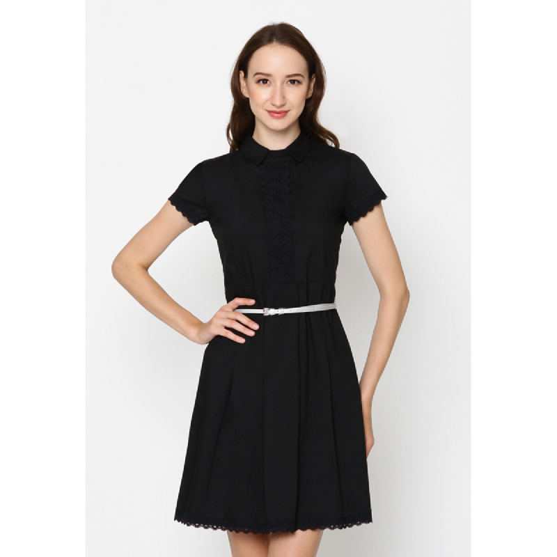 Agatha Skater Dress With Pointed Flat Collar Black