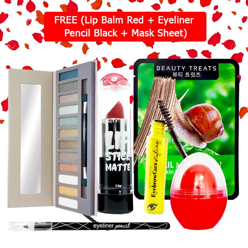 Beauty Treats Make Up Set B (Naked Eyeshadow No. 1 + Lipstick No. 6 + Eyebrowcara Dark Brown) FREE Kiss Me Lip Balm Red + Eyeliner Pencil Black + Mask Sheet Snail