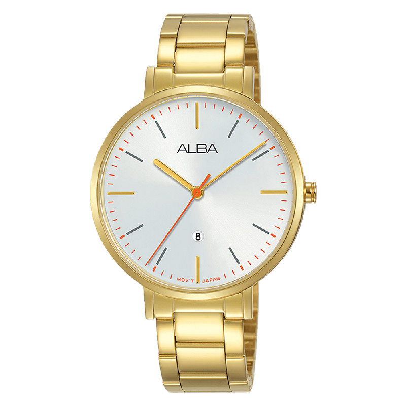 Alba Fashion AH7T24X1 Ladies Silver Dial Gold Stainless Steel Strap