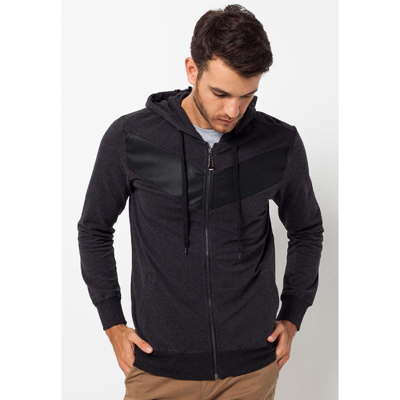 Black V Leather Panel Hoodie