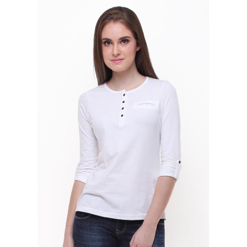Slim Fit - Kaos Wanita - Berkancing - Lengan Panjang - Putih