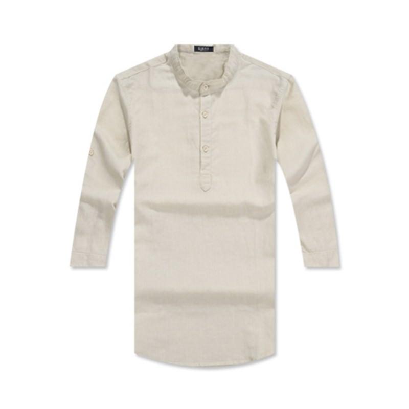 Henley Neck Three Quarter Roll-up Linen Shirt GS7203C - Beige