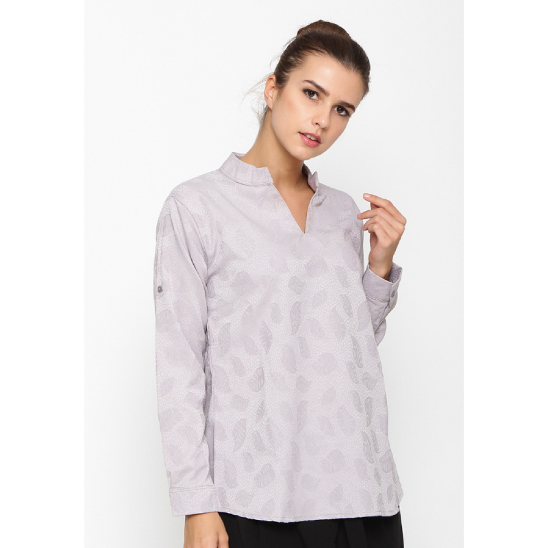 Wulfenii Grey Jacquard Blouse Pasley Leaf Top