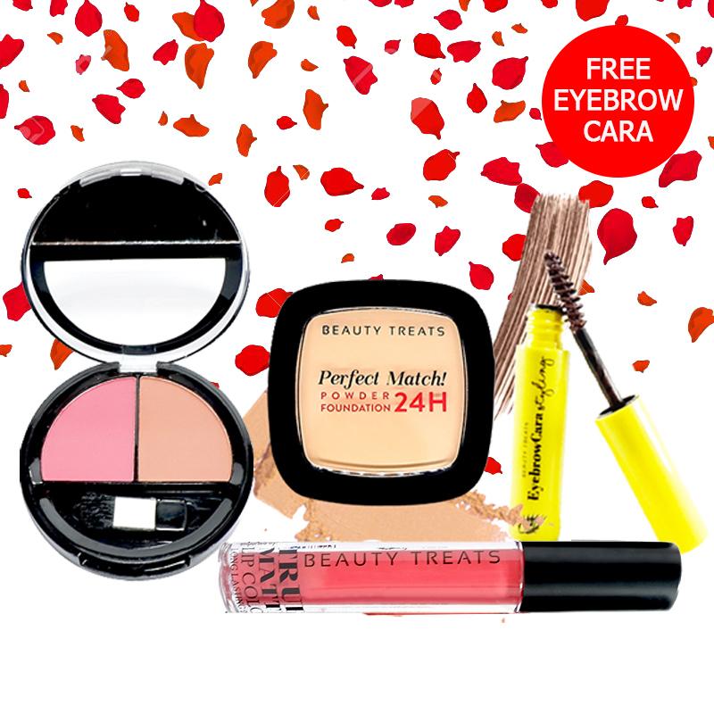 Beauty Treats Make Up Set A (Perfect Match Powder Foundation 24H No. 3 + True Matte Lip Color No. 2 + Duo Blush No. 2) FREE Eyebrowcara Dark Brown