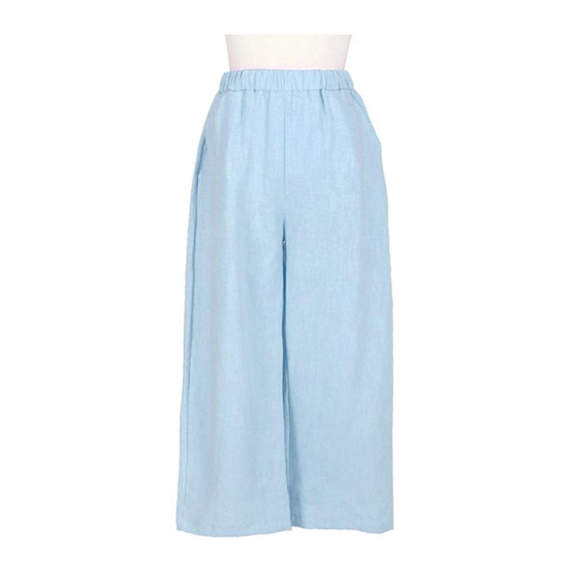 Colorful Linen Slacks - BLUE