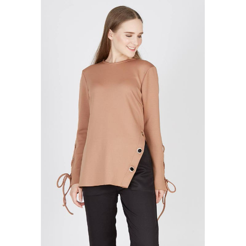Pippa Knot Side Top Brown
