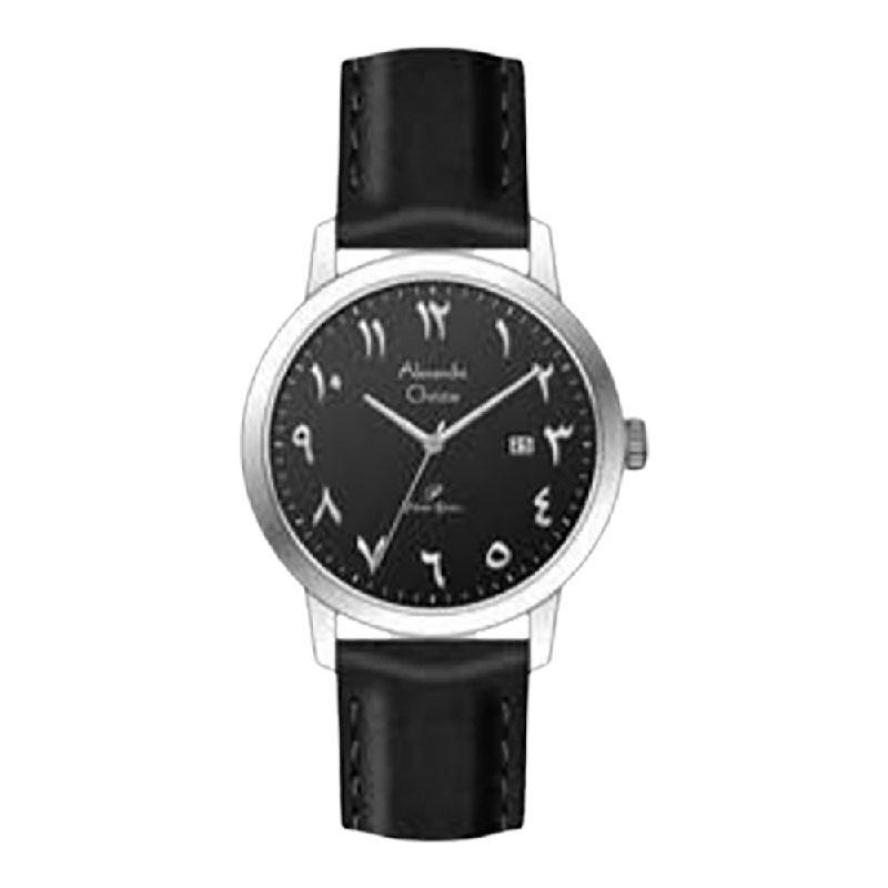 Alexandre Christie Primo Steel AC 1024 LDLSSBA Ladies Black Dial Black Leather Strap