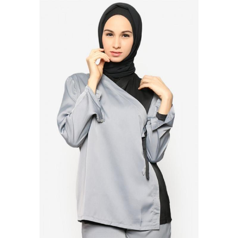 BIA by Zaskia Mecca Blouse Cotton Silk Cira Hitam Biru Blouse S3