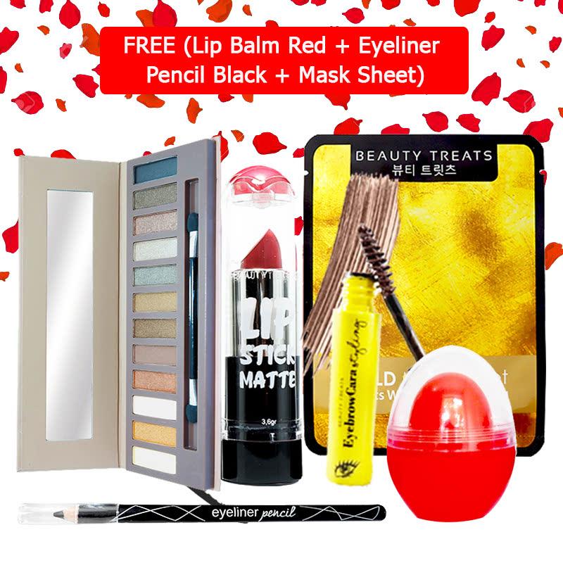 Beauty Treats Make Up Set B (Naked Eyeshadow No. 1 + Lipstick No. 6 + Eyebrowcara Dark Brown) FREE Kiss Me Lip Balm Red + Eyeliner Pencil Black + Mask Sheet Gold