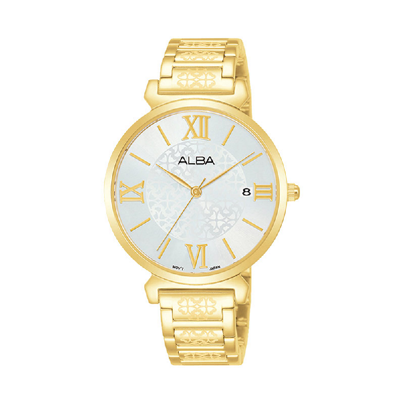 Alba AG8K70X1 Ladies Silver Dial Gold Stainless Steel Strap