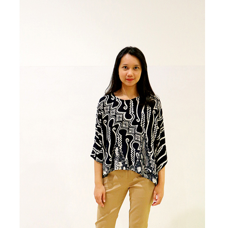Batik Chic Blouse Kotak Batik Black