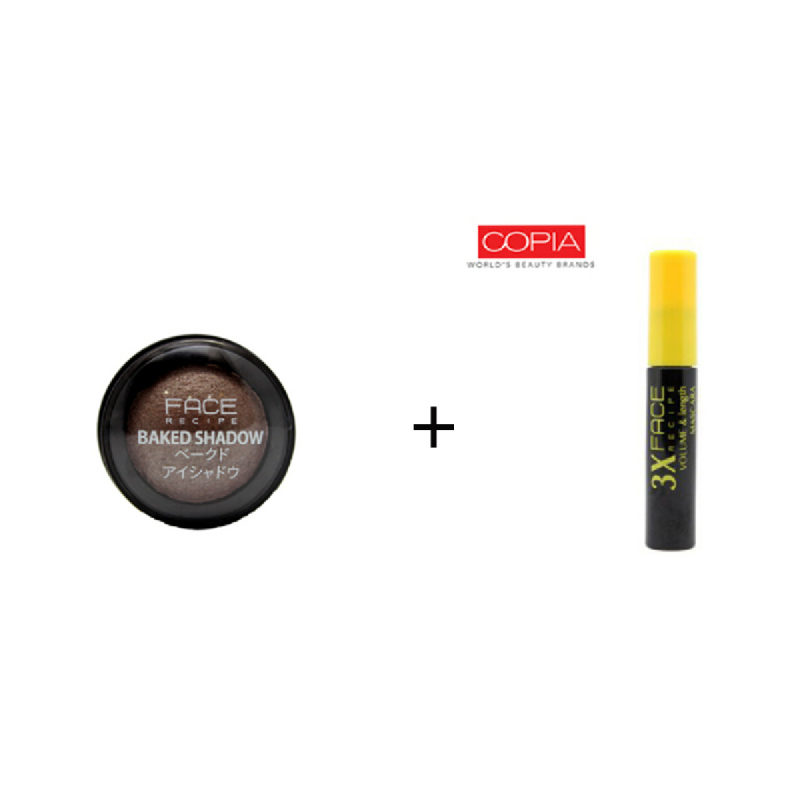 Face Recipe Baked Shadow Slate + Face Recipe 3X Volume & Length Mascara Black