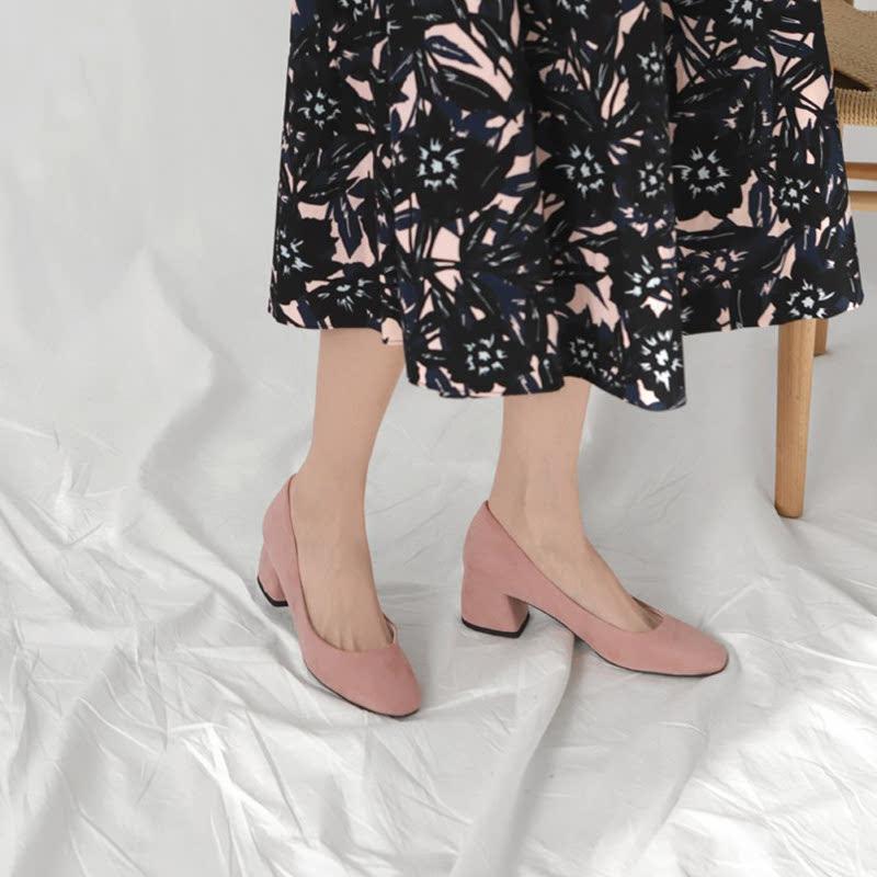 SAPPUN Love Suede Thumb Middle Heel (5cm) - Indie Pink