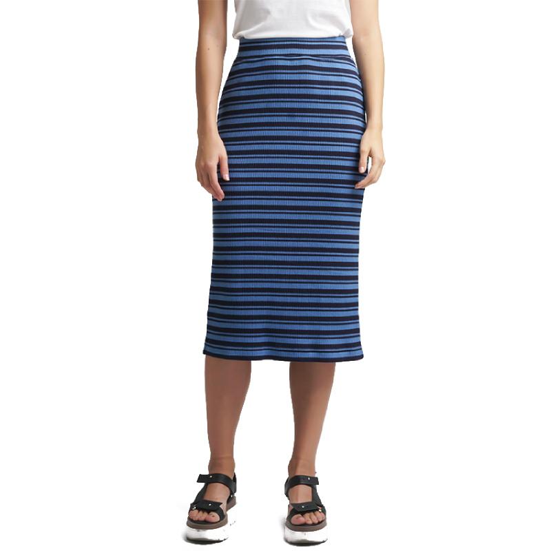 Minimal Ribbed Stripes Skirt DARK NAVY