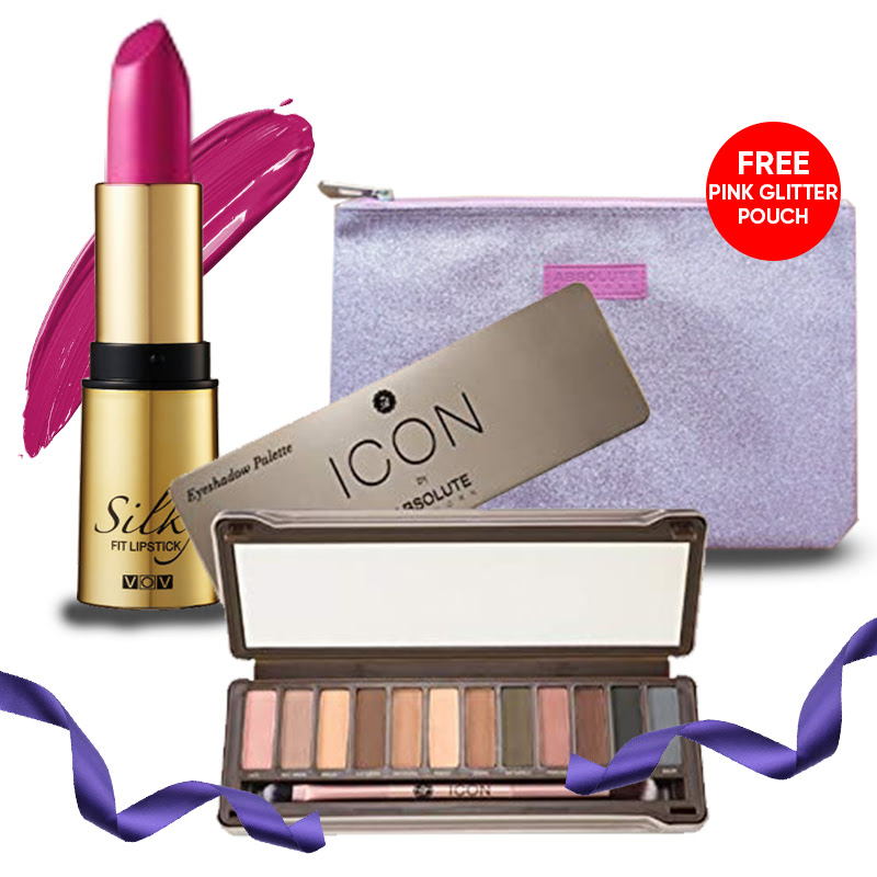 Absolute New York Icon Eye Shadow Exposed + VOV Silky Fit Lipstick 336 Berry Kiss FREE Pink Glitter Pouch