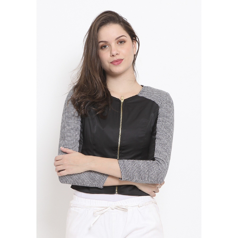 Agatha Woman Black Zip Up Outer Black