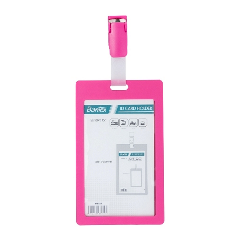 Bantex ID Card Holder With Clip 54x90mm Portarit Pink -8866 19