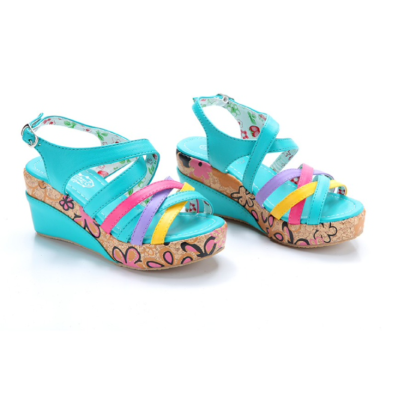 Wedges Color Line Shoes Blue