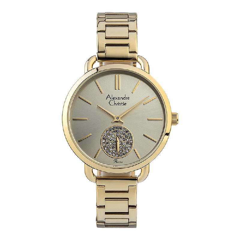 Alexandre Christie Passion AC 2907 BS BGPIV Ladies Gold Dial Gold Stainless Steel Strap